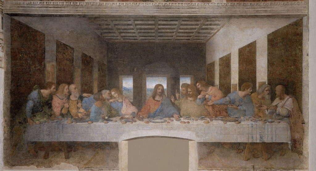 Леонардо да Винчи - Тайная вечеря, написана между 1495 и 1498гг