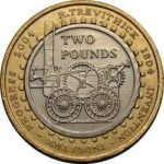 Монета в честь 200-летия первого парового локомотива Р. Тревитика