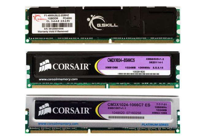 Внешний вид модулей памяти DDR, DDR2, DDR3